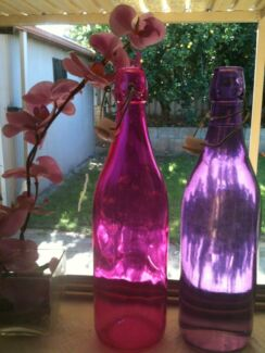 Colored glass bottles for water Bunbury 6230 Bunbury Area Preview