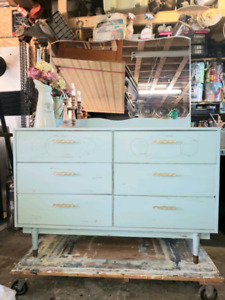FREE HRM DELIVERY - RETRO PAINTED GREEN DRESSER & MIRROR