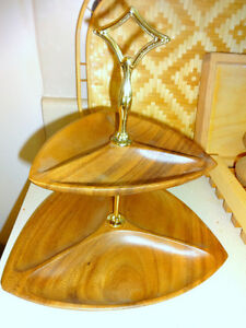 REDUCED!  TEAK MCM Retro Mid-Century Decor // Wood 2-tier Serving Platter VINTAGE Cake Platter 60s