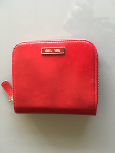 Miu Miu Red Leather Zippered Wallet