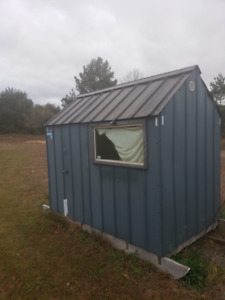 ** SOLD PENDING P/U****Ice Hut, With small wood stove, Runners