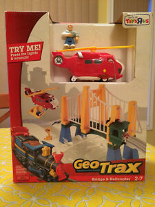 Geotrax Geo Trax Bridge & Helicopter Fisher-price Toys R Us Excl