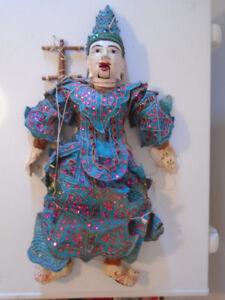ANTIQUE ORNATE ASIAN HAND CARVED BURMESE STRING MARIONETTE
