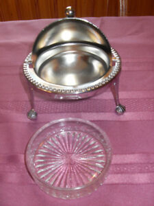 Vintage - silver butter dish (Dome) glass insert