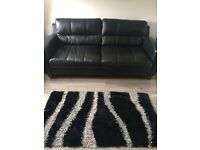 Black 3 seater leather suite £150