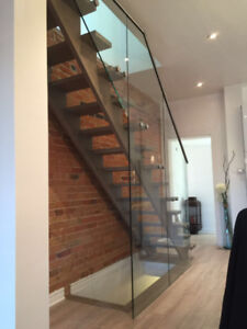 10 mm frameless tempered glass door and glass railing