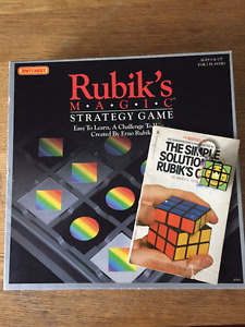 Rubik's Puzzler Lot (board game, book and mini-cube)