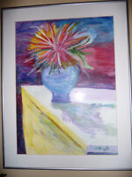 Watercolor Painting by Local Artist (Flowers in Vase)
