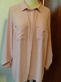 Size 16 dusky pink long sleeve blouse new