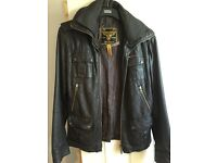 Women's superdry leather jacket- large - as new!!