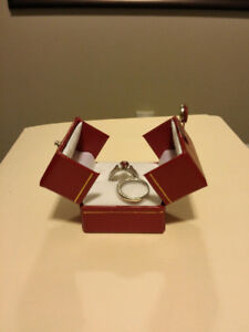Ruby & Diamond Wedding & Engagement Ring Set