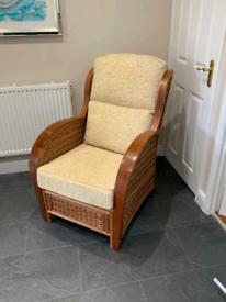 Wooden Wicker armchair