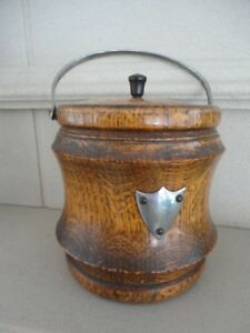 Solid OAK biscuit barrel, original ceramic liner