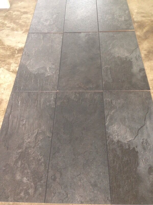 Black Slate Laminate Flooring : Harmonia black slate tile effect laminate flooring brand