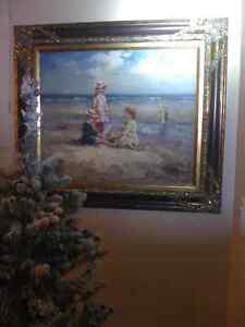 Children Playing on the Sea Shore Beach Genuine Oil Painting
