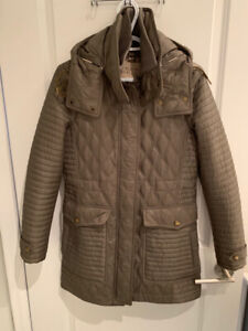 Burberry Brit Quilted Coat in Mink Green