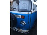 1974 VW Camper blue and white