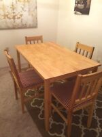 Table and four chairs, wooden