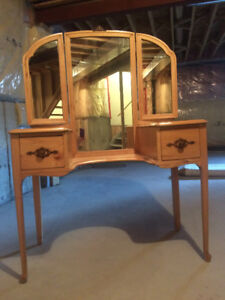 Antique wooden dressing table and bench