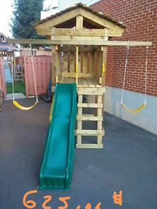 Module glissade extérieur en bois traité