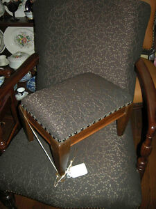 antique vintage arm chair new brown upholstery with footstool Oakville / Halton Region Toronto (GTA) image 3