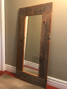 Brown barnboard authentic reclaimed barn board mirror
