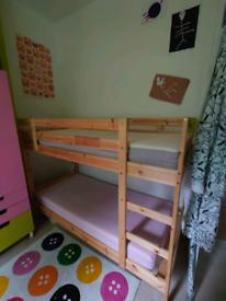 IKEA PINE SINGLE BUNK BEDS