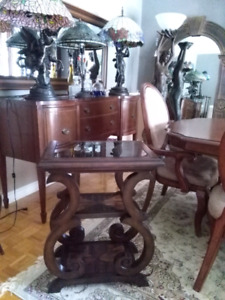 Bombay bar table with side tray