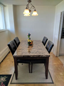 Wood and Faux Marble Dining Table and Espresso  Chairs
