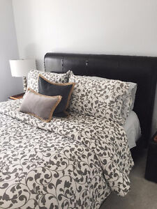 Queen Bed Frame & Two End Tables $300