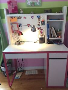 IKEA Micke desk with board and book shelves