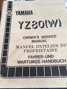 1989 Yamaha YZ80W Owners Service Manual