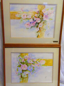 Set Framed ORIGINAL Watercolours Morning Glories by O'Haire