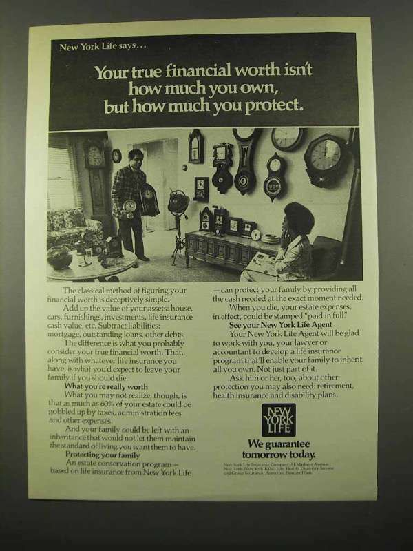 1975 New York Life Insurance Ad - Financial Worth