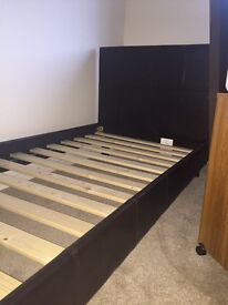 Brand New unwanted Dark Chocolate leather single bed + Brand New Mattress
