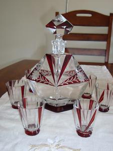 Art déco - carafe et verres en cristal