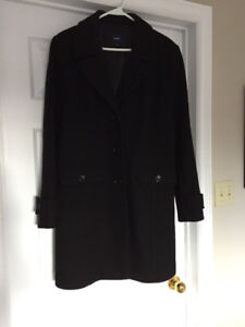 Size 13 Black Knee Length Wool Coat mint condition