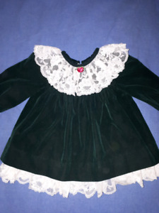 Jo Lene Green Velvet Holiday Christmas Dress Size 18mts EUC