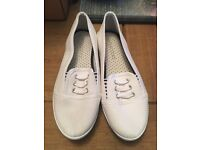 Ladies flat white shoes