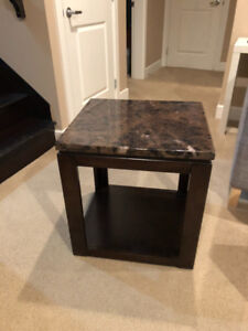 End Table With Faux Marble Top