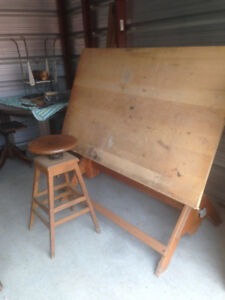 Vintage Drafting Table with Stool