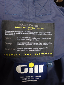 High quality Gill brand rain/sailing bib pants boys size 10