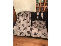 FAUX SILK GREY/SILVER AND BLACK FLOCK CURTAINS WITH 4 MATCHING CUSHIONS