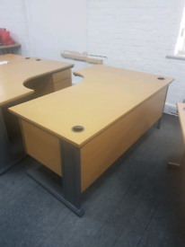3 off L shaped office desks with pedestal