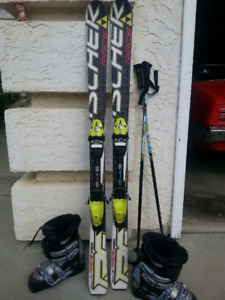 Kid skiis, boots, poles, bindings..winter fun planning :)