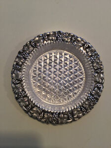 silver plated dish with glass dish