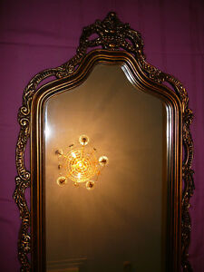 "Superbe miroir antique/1940, style Louis XVI, grand 27""x60"" doré West Island Greater Montréal image 6"