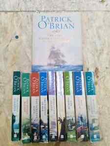 The first 9 Aubrey-Maturin books plus the last one too
