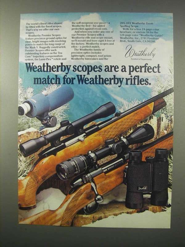 1981 Weatherby Premier Scopes Ad - A Perfect Match
