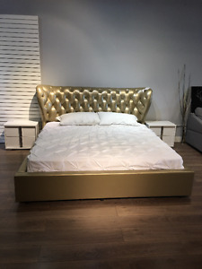 KING SIZE GENUINE LEATHER GOLD BED FRAME - $1000